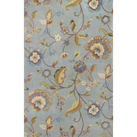 Emerald Blue Quincy Floral Rug - 3'6 x 5'6