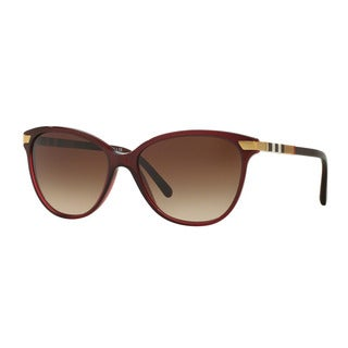 Burberry Women's BE4216F 301413 Bordeaux Plastic Cat Eye Sunglasses