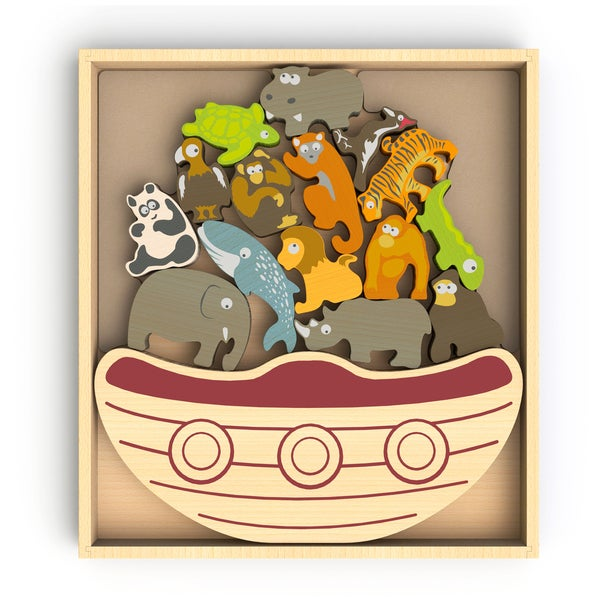 BeginAgain Toys Balance Boat Endangered Animals Game and Playset