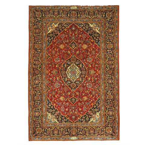 Hand-knotted Wool Red Traditional Oriental Shadsar Kashan Rug (4'9 x 7'1) - 5' x 7'