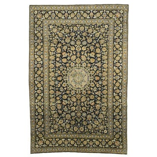 Hand-knotted Wool Navy Traditional Oriental Kashan Rug (7'8 x 10'9)