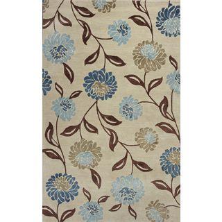 """Florence 4579 Beige/Blue Springtime (3'6"""" x 5'6"""") Rug"""