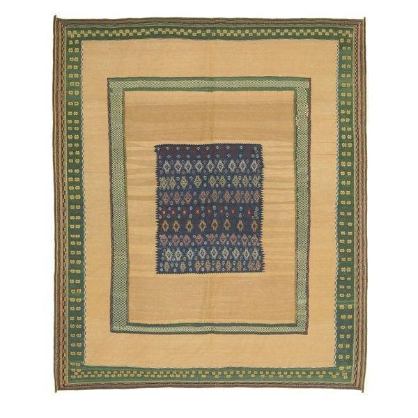 Hand-knotted Wool Beige Traditional Oriental Flatweave Soumak Rug (8'5 x 9'10)