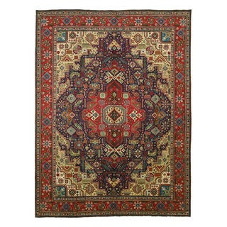 EORC Hand Knotted Wool Navy Tabriz Rug (8'11 x 11'11)