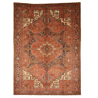 Hand-knotted Wool Rust Traditional Oriental Heriz Rug (9'8 x 13'1)