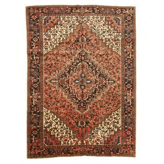 Hand-knotted Wool Rust Traditional Oriental Heriz Rug (7'9 x 10'8)
