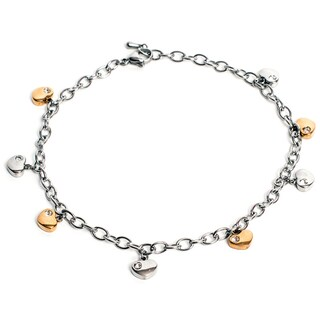 Magnetic Therapy 12.5-inch Adjustable Ankle Bracelet with Hearts (Option: Magnetic Ankle Bracelet Silver/Gold Heart)