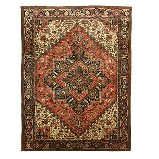 Hand-knotted Wool Rust Traditional Oriental Heriz Rug (8'4 x 11'2)