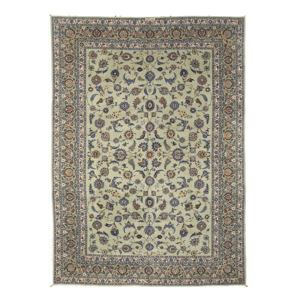 Hand-knotted Wool Green Traditional Oriental Alaghemand-Kashan Rug (9'6 x 13'7)