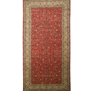 Hand-knotted Wool Red Traditional Oriental Tabriz Rug (9'3 x 17'11)