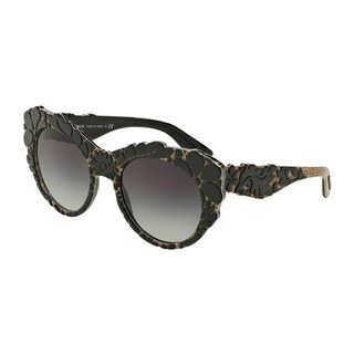 D&G Women's DG4267F 29988G Black Plastic Round Sunglasses