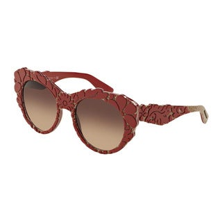 D&G Women's DG4267F 299913 Red Plastic Round Sunglasses