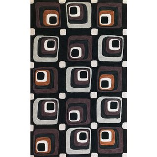 "Milan 2115 Charcoal Squares (7'9"" x 9'9"") Rug"