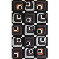 "Milan 2115 Charcoal Squares Rug - 7'9"" x 9'9"""