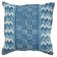 Blue Cotton 20-inch x 20-inch Square Pillow