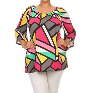 MOA Collection Women's Plus Size Abstract Geometric Top