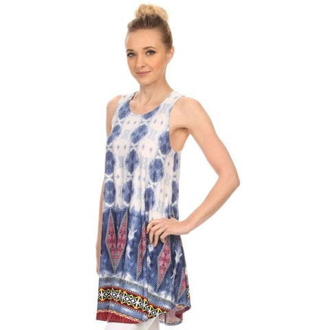 Moa Collection Women's Paisley Spandex and Polyester Blend Border Tank Top