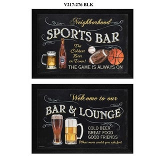 """""""Sports Bar"""" Collection By Debbie DeWitt, Printed Wall Art, Ready To Hang Framed Poster, Black Frame"""
