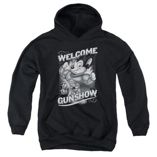 Mighty Mouse/Mighty Gunshow Youth Pull-Over Hoodie in Black