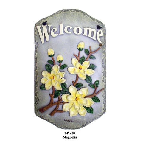 "Welcome Sign, ""Magnolia"" Porch Decor, Resin Slate Plaque, Ready To Hang Decor"