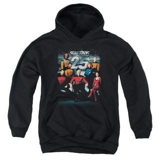 Star Trek/25Th Anniversary Crew Youth Pull-Over Hoodie in Black