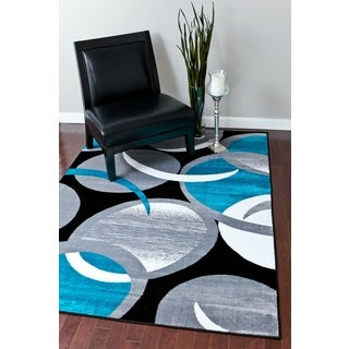 shop persian rugs turquoise black white grey gray abstact area rug 2 39 x 3 39 4 free shipping on. Black Bedroom Furniture Sets. Home Design Ideas