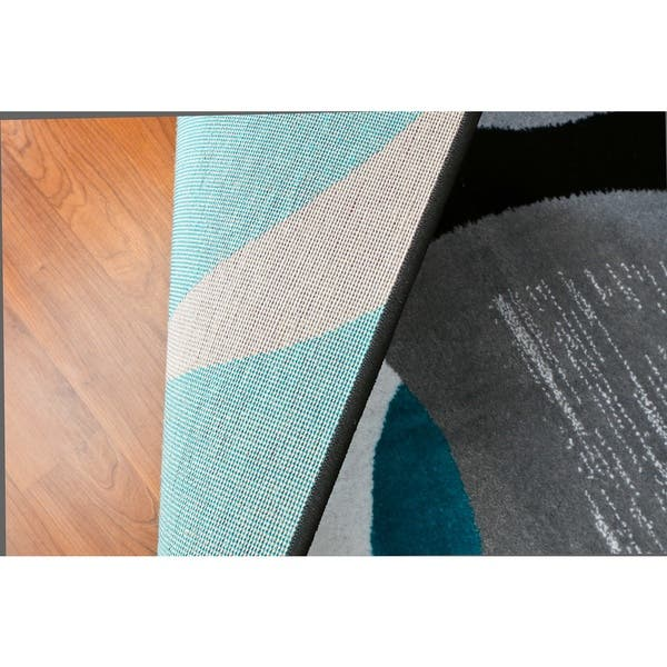 Shop Persian Rugs Turquoise Black White Grey Gray Abstact