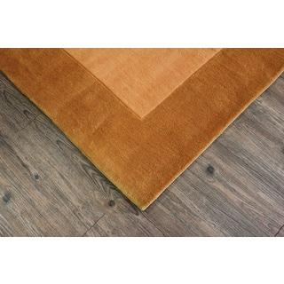 Tone-on-Tone Solid Gold Area Rug (7'6 x 10'3)