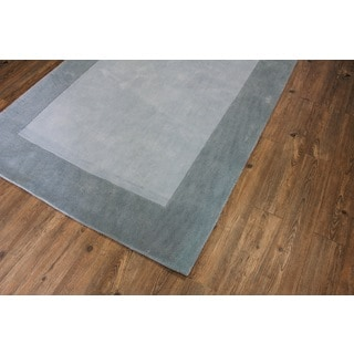 Tone-on-Tone Solid Light Blue to Grey Area Rug (7'6 x 10'3)