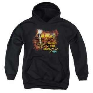 Survivor/Fires Out Youth Pull-Over Hoodie in Black
