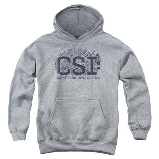 CSI/Distressed Logo Youth Pull-Over Hoodie in Heather