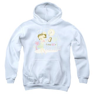 Boop/Hot in Hawaii Youth Pull-Over Hoodie in White