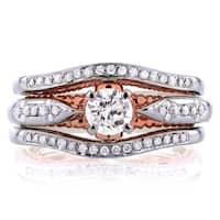 Annello by Kobelli 14k White Gold and Rose Gold Layered 2/3ct TDW Diamond Unique Bridal Rings Set