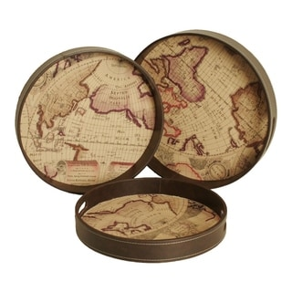 Antiqued Map Print Round Trays with Faux Leather Sides (Set of 3)