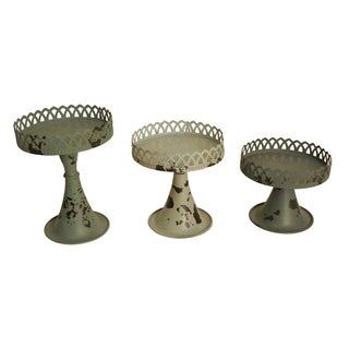 Weathered Candlesticks, Assorted Azure Blue Colors (Set of 3)