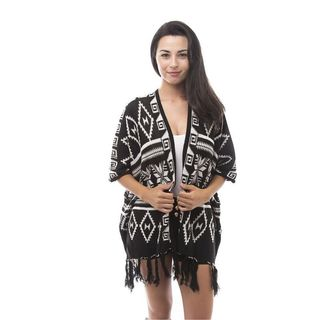Soho Women Casual Winter Black/ White Tribal Print Fringe Long Sleeve Cardigan Outwear