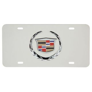 Pilot Automotive White Cadillac Chrome 3D Vehicles Automobile License Plate