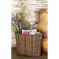 Handcrafted Seagrass Woven Magazine Rack/Basket, Brown