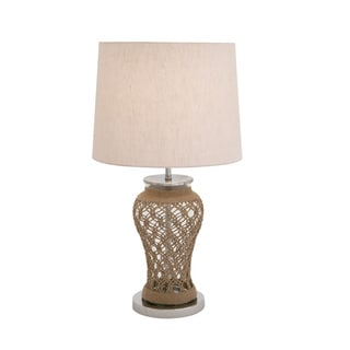 Stainless Steel, Glass, and Jute Table Lamp