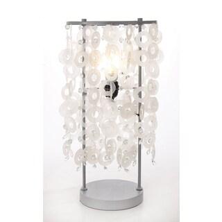 Palatial Metal And Wood Capiz Table Lamp