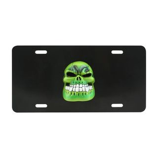 Pilot Automotive 3D Green Skull License Plate for Vehicles Automobilemobile