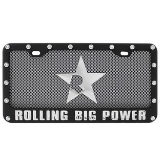Pilot Automotive Black Vehicles Automobile License Plate Frame with Mesh and Star Logo