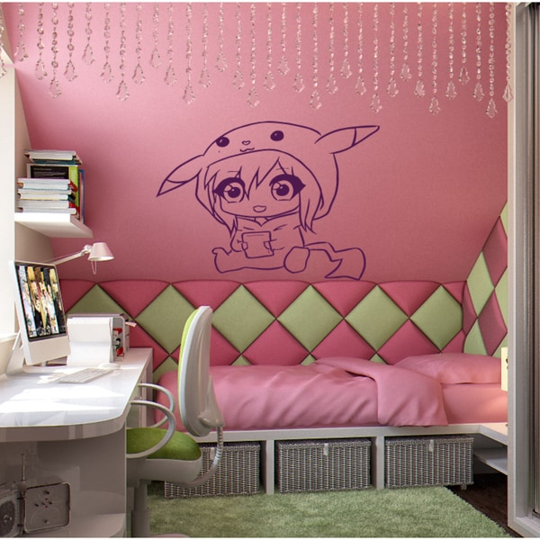 Shop Anime funny toy little girl Wall Art Sticker Decal Purple ...