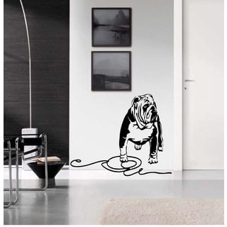 English Bulldog with a leash Wall Art Sticker Decal