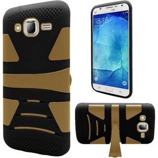 Insten Dual Layer Hybridd Stand Rubberized Hard PC/ Silicone Case Cover for Samsung Galaxy J7 (2016)