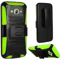 Insten Hard PC/ Silicone Dual Layer Hybrid Case Cover with Stand/ Holster For Samsung Galaxy J7 (2016)
