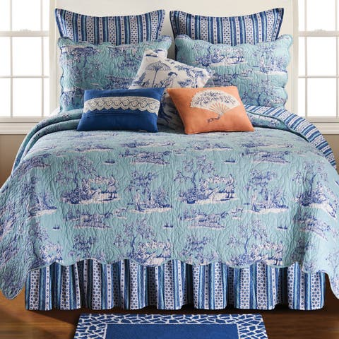 Hampstead Toile White/Blue Cotton/Polyester Bed Skirt