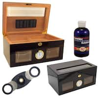 Bravo Negro Glass Humidor and Ashtray Set