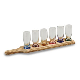 Versil Creative Gifts Wood Glass 7-piece Tavern Tasting Set