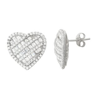 Gioelli Sterling Silver Cubic Zirconia Heart Pave Stud Earrings